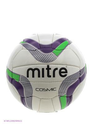 Мяч футбольный MITRE COSMIC. Цвет: черный, салатовый, сиреневый, белый