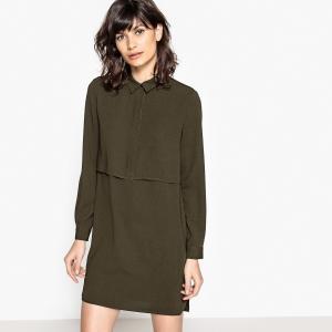 Платье-рубашка короткое, рукава длинные SEE U SOON. Цвет: хаки