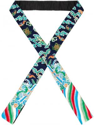 Шарф с вышивкой Xander Zhou. Цвет: синий