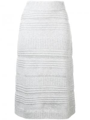 Трикотажная юбка-миди Novis. Цвет: серый