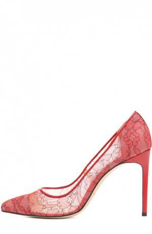 Кружевные туфли Lama Bionda Castana. Цвет: красный