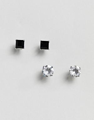 Simon Carter Набор из 2 пар сережек с кристаллами Swarovski (круглые / квадратные). Цвет: серебряный