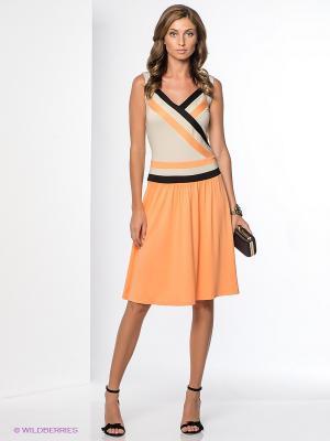 Платье Yulia Dushina. Цвет: оранжевый, светло-бежевый
