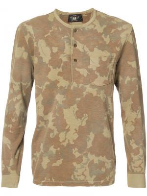 Камуфляжная футболка хенли Rrl. Цвет: коричневый