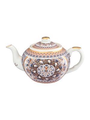 Чайник с металлическим ситом Калейдоскоп Elan Gallery. Цвет: серый, золотистый, белый