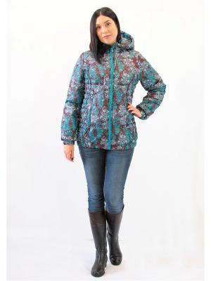 Куртка Адель. Цвет: бирюзовый, молочный, темно-коричневый