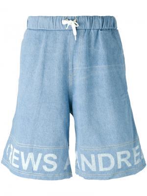Спортивные брюки с бахромой Andrea Crews. Цвет: синий