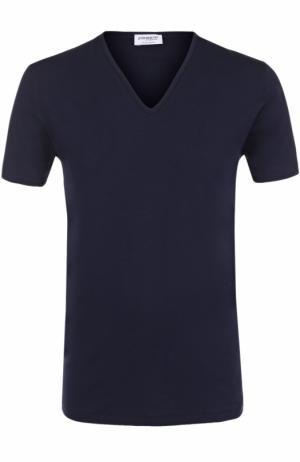 Хлопковая футболка с V-образным вырезом Zimmerli. Цвет: темно-синий