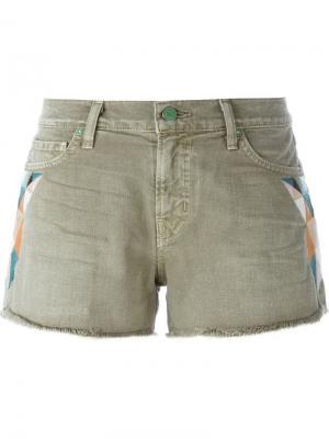 Джинсовые шорты с вышивкой Sandrine Rose. Цвет: зелёный