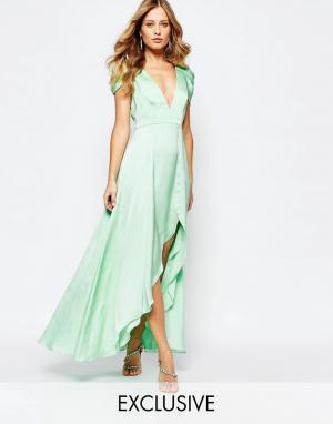 Fame and Partners Платье макси с асимметричным краем Radiant Angel. Цвет: зеленый