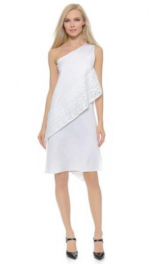 Платье со спиралевидными кружевными вставками Zero + Maria Cornejo. Цвет: белый