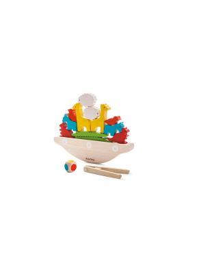 Головоломка Балансирующая лодка PLAN TOYS. Цвет: бежевый, красный, желтый, голубой