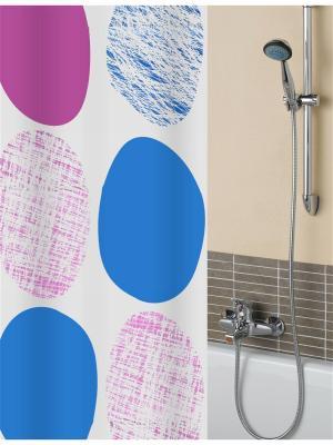 Штора для ванной комнаты с крючками 180*190 см.(розовый) PATRICIA. Цвет: розовый