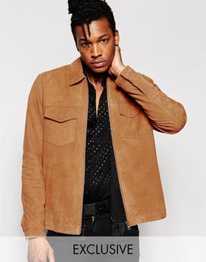 Black Dust Замшевая куртка на молнии без подкладки. Цвет: рыжий