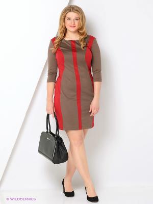 Платье МадаМ Т. Цвет: бежевый, красный