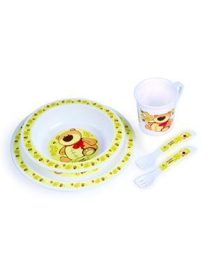 Набор обеденный пластиковый, 12м+, цвет: желтый Canpol babies. Цвет: желтый, белый, коричневый