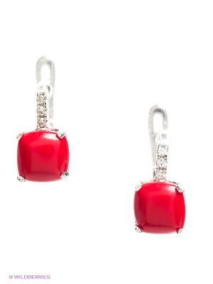 Серьги BALEX. Цвет: серебристый, красный, коралловый