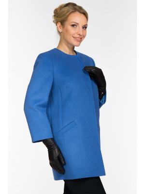 Пальто GallaLady. Цвет: голубой