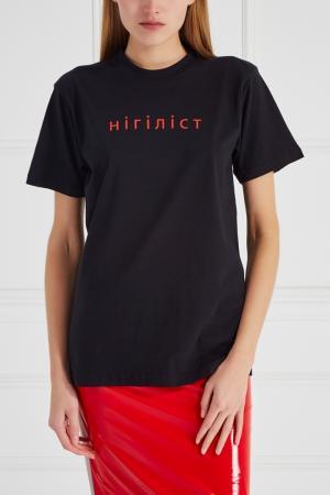 Хлопковая футболка Nigilst SUBTERRANEI. Цвет: черный