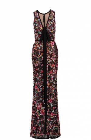 Приталенное платье-макси с контрастной вышивкой Elie Saab. Цвет: разноцветный