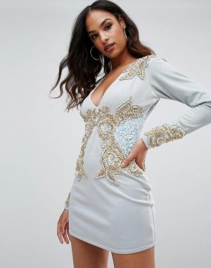 A Star Is Born Платье с длинным рукавом, V-образным вырезом и отделкой. Цвет: синий