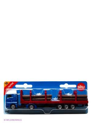 Тягач с платформой бревнами SIKU. Цвет: синий