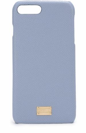 Кожаный чехол для iPhone 7 Plus Dolce & Gabbana. Цвет: светло-голубой