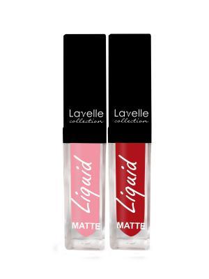 Набор из матовых губных помад № 3, 2 шт Lavelle. Цвет: бледно-розовый, красный