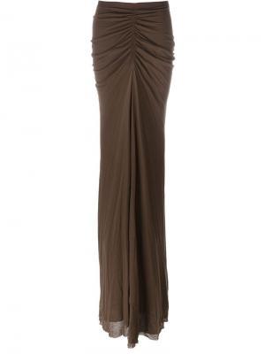 Длинная драпированная юбка Rick Owens Lilies. Цвет: коричневый