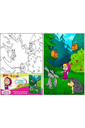 Роспись по холсту Лесные друзь Маша и Медведь. Цвет: зеленый