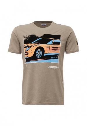 Футболка Automobili Lamborghini. Цвет: бежевый