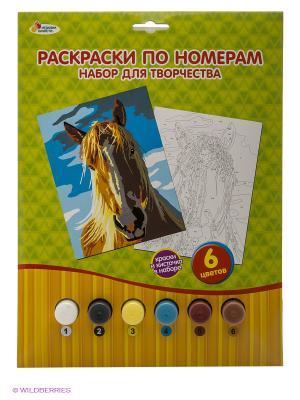 Раскраска по номерам Лошадь Играем вместе. Цвет: зеленый, голубой, оранжевый