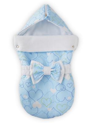Конверт на выписку Мое сердечко, голубой лето + бант Lovely care. Цвет: голубой,белый