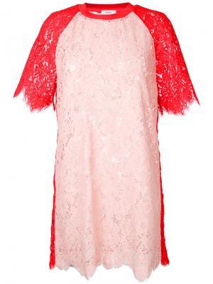 Платье в стиле колор-блок Goen.J. Цвет: розовый и фиолетовый