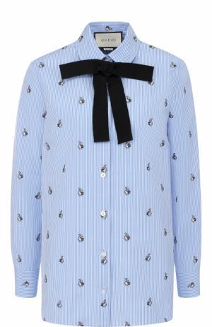 Хлопковая блуза прямого кроя с бантом Gucci. Цвет: голубой