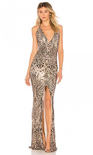 Вечернее платье с глубоким вырезом shanina Nookie. Цвет: металлический бронзовый