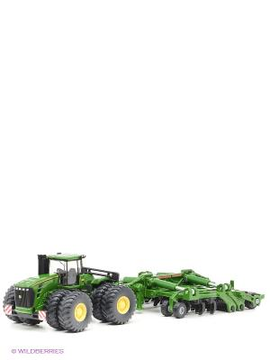 Трактор  с прицепом-плугом. SIKU. Цвет: зеленый