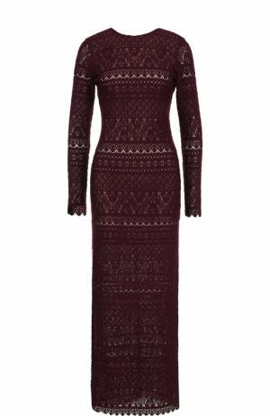 Приталенное кружевное платье-макси с длинным рукавом Alice + Olivia. Цвет: бордовый