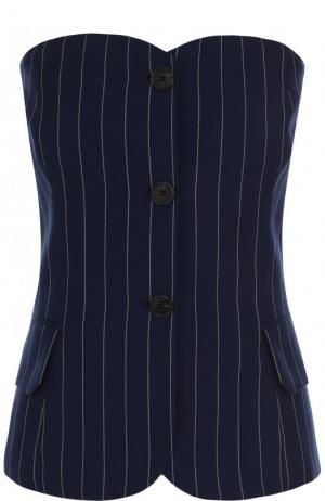 Шерстяной топ-бюстье в полоску Ralph Lauren. Цвет: темно-синий