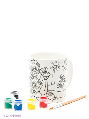 Кружка керамическая  с рисунком львенок и черепаха (краски+кисточка) Multiart. Цвет: белый