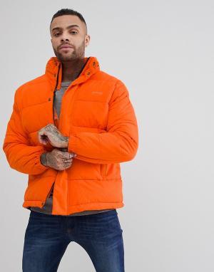 Schott Оранжевая дутая куртка со скрытым капюшоном Nebraska. Цвет: оранжевый