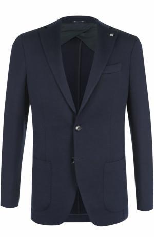 Однобортный шерстяной пиджак Sartoria Latorre. Цвет: темно-синий