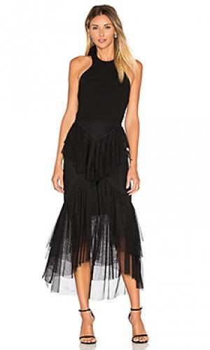 Платье с рюшами и бантом сзади orlando Rebecca Vallance. Цвет: черный