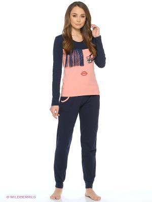 Пижама NICOLETTA. Цвет: темно-синий, коралловый