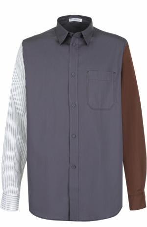 Хлопковая рубашка свободного кроя J.W. Anderson. Цвет: разноцветный
