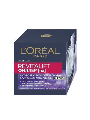 Дневной антивозрастной крем Ревиталифт Филлер [ha] против морщин, для лица, 50 мл L'Oreal Paris. Цвет: сиреневый, темно-синий