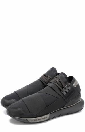 Текстильные кроссовки Qasa с кожаной отделкой Y-3. Цвет: черный