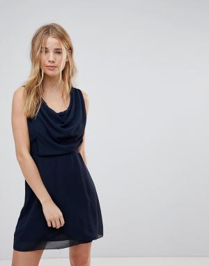 Wal G Платье с драпировкой спереди. Цвет: темно-синий