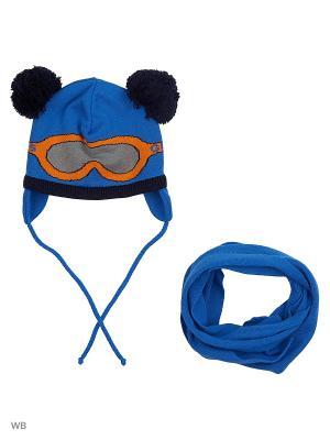 Шапка и шарф Grans. Цвет: синий