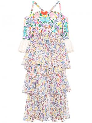 Платье с открытыми плечами All Things Mochi. Цвет: многоцветный